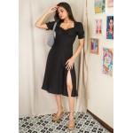 All Black Slit Midi Dress!