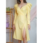 Overlapping Slit Midi Dress!