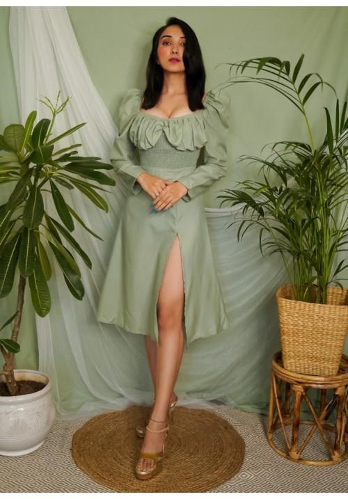 Smocked and Slit Midi Dress!