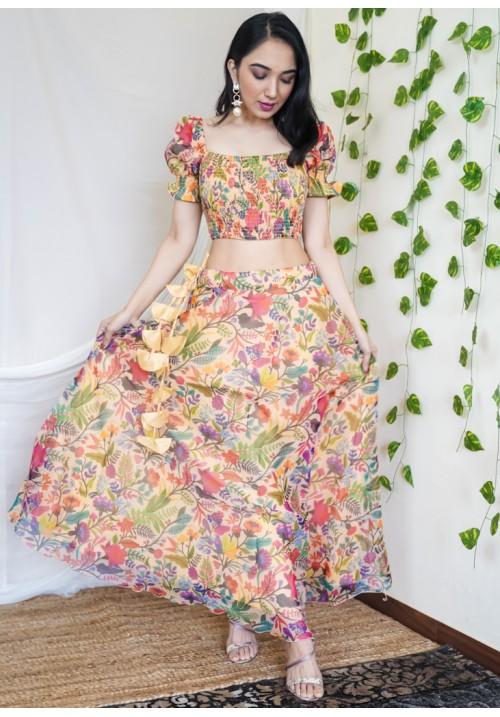 Smocked and Printed Organza Skirt Set!