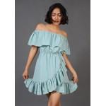 Overlapping Ruffle Dress