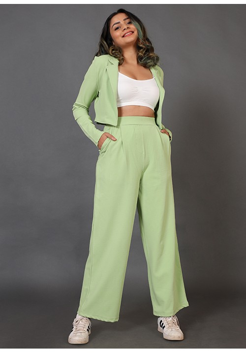 Cropped Blazer And Wide Leg Pants Set!