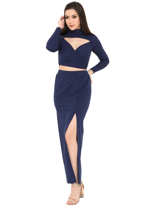 Wrapped Top and Slit Skirt Set!